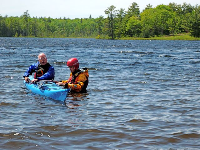 A kayak rolling lesson at White Squall Paddling Centre.