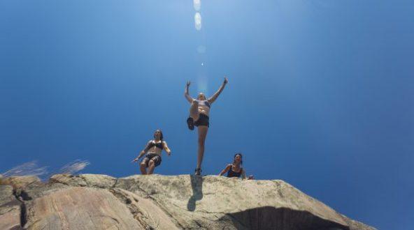 Look out below! People jumping off Georgian Bay rocks.