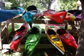 Kayaks on boat rack.