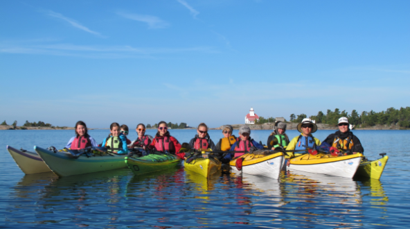 Group kayak lesson at Snug Harbour in Georgian Bay.