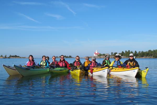 Group kayak lesson at Snug Harbour in Georgian Bay.