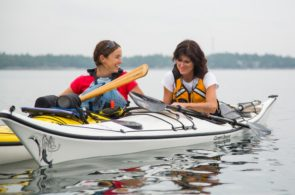 A student and an instructor learning about sea kayaking at White Squall Paddling Centre.