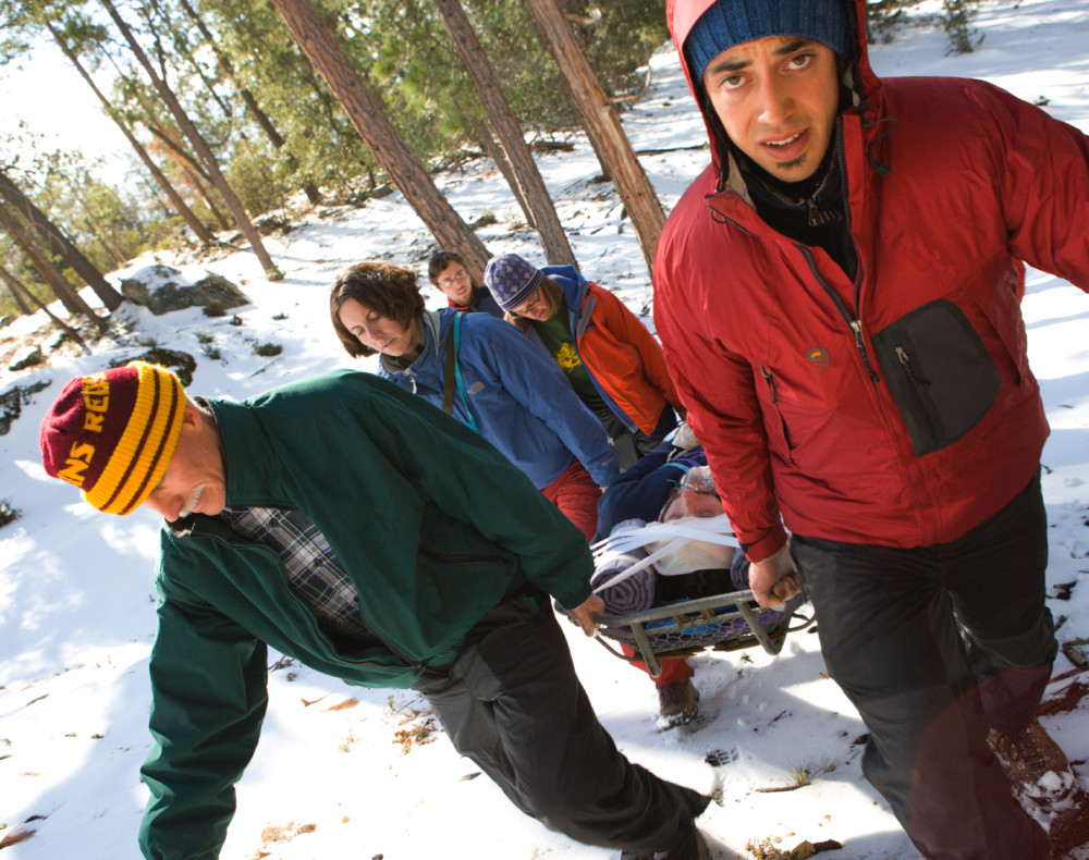 Students on a Wilderness First Aid course.