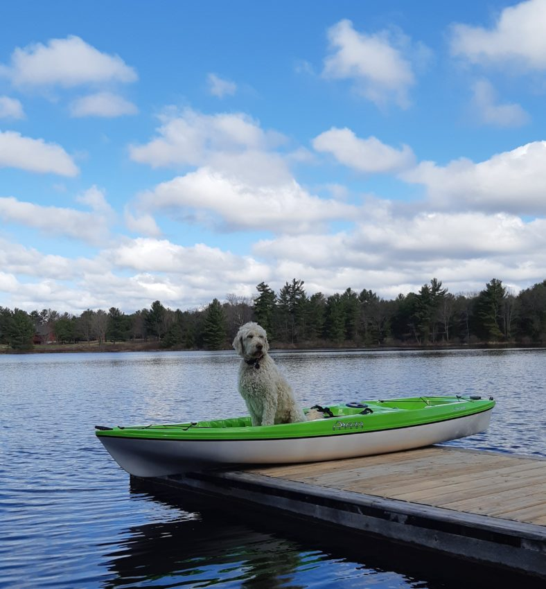 Charley sitting in a kayak on the dock at White Squall Paddling Centre